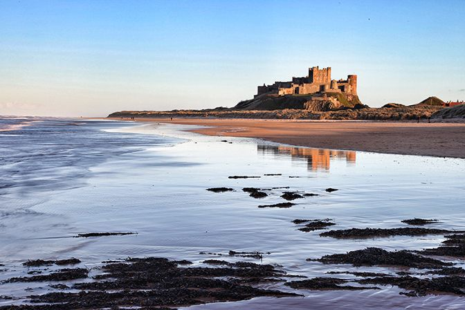 Bamburgh Castle from on the beach